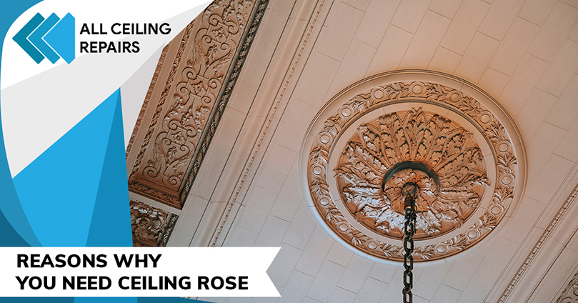 classic ceiling rose in a big room